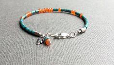 Turquoise Carnelian Skinny Bracelet, Boho Chic Stacking Bracelet, Dainty Gemstone Bracelet, Sundance Style, Silver Leaf Charm, Hill Tribe