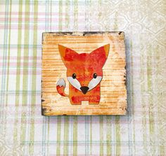 Adorable lil Fox 2inch square ceramic tile magnet by Laughing Apple Designs on Etsy! $2.50