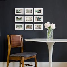 framing idea - photos with similar colors in identical sizes and identical frames