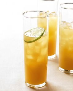 Pineapple-Rum Cocktail. 1 can (46 oz) pineapple juice, 2 cups spiced rum, 1/2 cup fresh lime juice, Lime slices for garnish. In a large pitcher, stir together pineapple juice, spiced rum, and lime juice. Refrigerate until chilled. Serve over ice, garnished with lime slices.