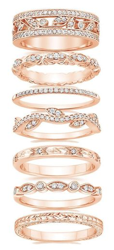 Gorgeous Wedding Bands for Women Just do an extra beautiful rose gold wedding band (and still get all white gold engagement and matching wedding band) Bijoux Or Rose, Bijoux Design, Wedding Matches, Dream Ring, Diamond Are A Girls Best Friend, Beautiful Rings, Gold Rings, Diamond Rings, Rose Gold Band Ring