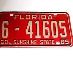 Vintage 1968 Florida License Plate Sunshine State Palm by Vetera