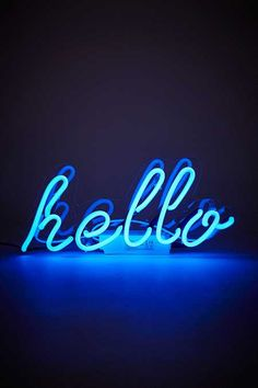 Shop Neon Hello Light at Urban Outfitters today. We carry all the latest styles, colours and brands for you to choose from right here. Blue Neon Lights, Neon Light Signs, Neon Signs, Neon Azul, Neon Bleu, Blue Aesthetic Dark, Aesthetic Colors, Image Bleu, Neon Licht