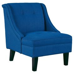 The Signature Design by Ashley Clarinda Accent Chair is 1 part classic slipper chair, 1 part traditional wingback chair and 100 percent modern. Tapered legs, clean lines and subtle tufting add fashionable flair, while the deep seat and winged back offer cozy comfort. Wood and composite construction creates strength and durability.