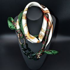 Designer Luxury Brand Printed Silk Scarf With Chain Link Pendant