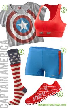 Captain America workout clothes. I would wear all but the shoes. I want captain reeboks
