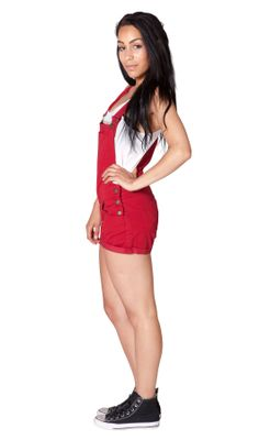 Cherry Red Lightweight Dungaree Shorts | Dungaree Shorts | Women