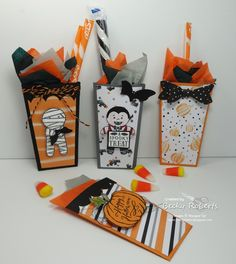 Looking for a quick and fun little Halloween treat? Here you go! The Popcorn Box Thinlit  to the rescue!   They are pretty tiny, just 3-1/...