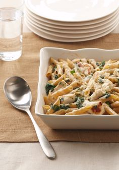 Chicken-Penne Florentine Bake -- What's not to love? Chicken, spinach and two kinds of cheese are baked with multi-grain pasta for a totally satisfying--and healthy living--take on an Italian favorite.