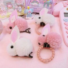 Options: White Bunny Hair Elastic Pink Bunny Hair Elastic White Bunny Hair C. Kawaii Hairstyles, Bobby Pin Hairstyles, Headband Hairstyles, Diy Hairstyles, Fluffy Bunny, Baby Girl Hair Accessories, Kawaii Accessories, Hair Scarf Styles, Twist Headband