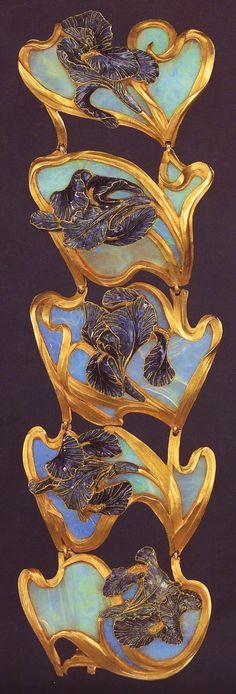 Lalique 1897-99 signed 'Irises' Bracelet in 5 sections: each section is a purplish-blue champlevé enamel & gold iris on a carved opal background: the flower's gold stem rims the shaded panel. Private collection: NY