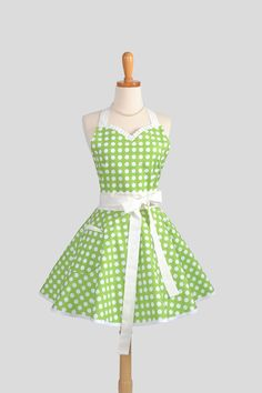 Sweetheart Retro Apron  Sexy  Womens Apron Green by CreativeChics, $40.00