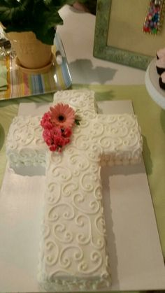 First communion cross cake. All buttercream.  Www.facebook.com/cakesmadebychrissy