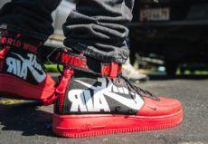 Details zu Nike Air Force 1 GS Kinder Jugend Uptown Leder Niedrig Weiß Fitness Rote Schuhe