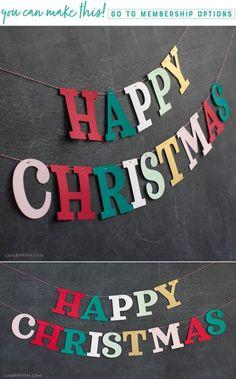 Papercut Christmas Banner - Lia Griffith - www.liagriffith.com #diyinspiration #diyidea #diyideas #paper #papercut #paperart #papercraft #papercrafts #papercrafting #diychristmas #diyholiday #diychristmasdecor #madewithlia