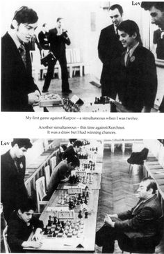 Garry Kasparov, Anatoly Karpov, Viktor Kotchnoi and I (1975, Leningrad, USSR). Photo from the book: Garry Kasparov on Modern Chess, 2008. Part 2: Kasparov vs Karpov 1975-1985. Everyman Chess.