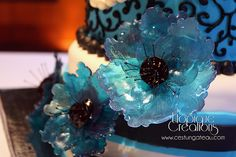 Wedding Cake - isomalt flowers