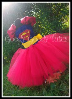 Superman Inspired Tutu Dress... I could do this for Capt. America with red knee high boots for Halloween