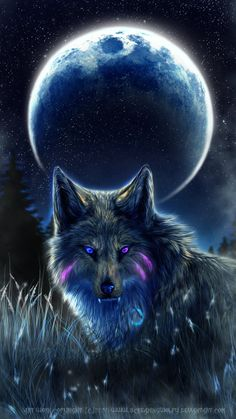 wolf by night Wolf Images, Wolf Pictures, Fantasy Wolf, Dark Fantasy Art, Anime Wolf, Beautiful Wolves, Animals Beautiful, Wolf Artwork, Wolf Spirit Animal