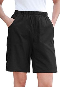 Women's Plus Size Jean Shorts, Stretch Denim Or Twill, Relaxed Fit Black,30 W * Check out the image by visiting the link.