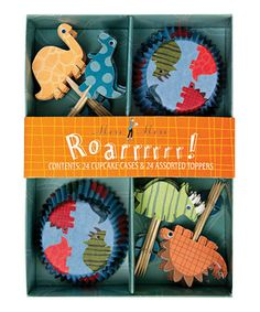 Every party's a roaring success with this prehistoric set of decorations. Wrappers and toppers with dinosaurs will make every cake a fearsomely delicious treat.