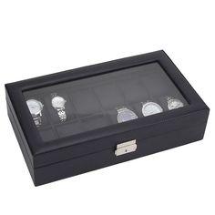 12 Watch Display Leather Case Top Glass Jewelry Organizesr Storage Boxes Men