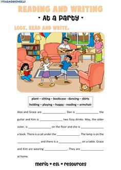 Reading and Writing - At a Party - Interactive worksheet English Worksheets For Kids, 2nd Grade Worksheets, English Activities, Grammar Worksheets, Picture Comprehension, Reading Comprehension Worksheets, Reading Passages, Descriptive Writing Activities, Kids Writing