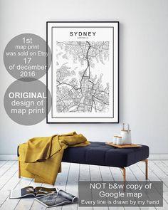 Sydney Map Sydney Sydney Map Print Galadigitalprints