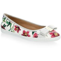 Salvatore Ferragamo Floral Leather Flats (25,490 MKD) ❤ liked on Polyvore featuring shoes, flats, leather flat shoes, flat pumps, flat shoes, slip-on shoes and flat slip on shoes
