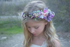 Hey, I found this really awesome Etsy listing at https://www.etsy.com/listing/267974316/purple-pink-flower-girl-crown-wildflower