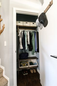 Does your entryway need a makeover? This coat closet started out as just one metal shelf, but a quick and inexpensive makeover made it so much more functional and beautiful! Check out the step by step process! #charlestoncrafted #diy #entryway #closet #makeover #closetmakeover