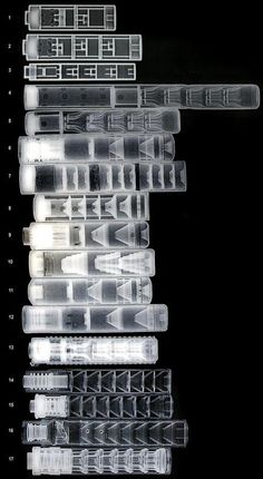 Various weapon suppressors as seen under x-ray