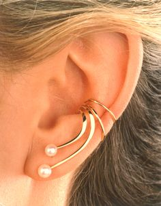 Jewelry OFF! Cheap And Charming Ear Cuff Earrings :No Piercing Required - trendy-jewelry. Ear Jewelry, Body Jewelry, Beaded Jewelry, Jewelery, Jewelry Accessories, Fine Jewelry, Jewelry Design, Jewelry Making, Trendy Jewelry
