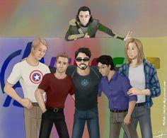 Avengers Assemble by Tenshi-Inverse || Loki Laufeyson, Steve Rogers, Clint Barton, Tony Stark, Bruce Banner, Thor Odinson || 736px × 608px || #fanart