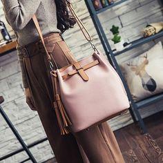 Women Tassel PU Handbag Sling Bag Tribal Crossbody Bag Street Beat Purse