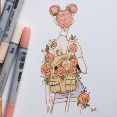 sibyllinesketchblog: Flowery girls From my instagram...
