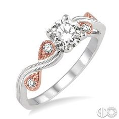 3/4 Ctw Diamond Engagement Ring with 5/8 Ct Round Cut Center Stone in 14K White and Pink Gold