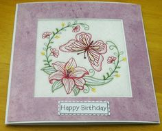 complete embroidered Birthday card Beautiful Butterfly and Lily