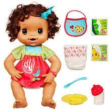 """Baby Alive My Baby Alive - Brunette by Hasbro. $52.00. Soft and snuggly baby doll eats, wets, and speaks!. Doll comes with dress, bib, bowl, spoon, bottle, 2 diapers, 2 doll food packets and instructions.. When your child rocks her to sleep, her eyes will close. You?ll both love the fun of loving and taking care of a doll that feels like a real baby!. Help your child feed her the included package of doll food mix and then change her diaper when she """"poops"""" and """"pees."""". Sh..."""