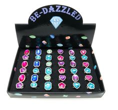 Aurora Assorted Shapes Faceted Bedazzled Faux Stone Adj. Rings Tray-Great Party Favors by Frogsac (Gem Colors - 36 pcs) Little Girl Toys, Little Girl Gifts, Book Jewelry, Kids Jewelry, Unicorn Bedroom Decor, Makeup Toys, Elsa Birthday Party, Kids Ride On Toys, 21st Birthday Decorations