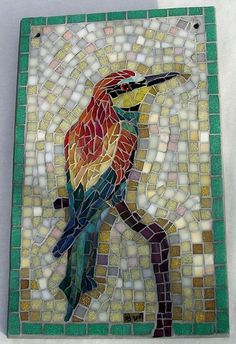 bird mosaic - kingfisher? whatever kind of bird it is I really like the mosaic!