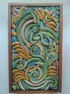 """Projeto """"Abstrato"""". Peça entalhada e pintada a mão em cedro(À Venda)."""