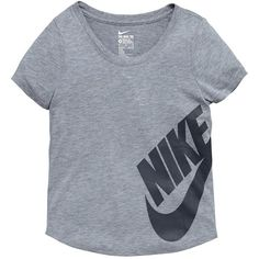 Nike Older Girls Futura Tee ($24) ❤ liked on Polyvore featuring tops, t-shirts, nike t shirts, blue tee, nike, nike top and polyester t shirts
