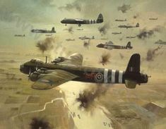 """Aviation and Transport Art """"Short Stirlings"""" - 602 Squadron Short Stirling glider tugs crossing the Rhine moments before releasing the Airborne Division in their Horsa gliders Ww2 Aircraft, Fighter Aircraft, Military Aircraft, Fighter Jets, Stirling, Military Art, Military History, War Thunder, Aircraft Painting"""