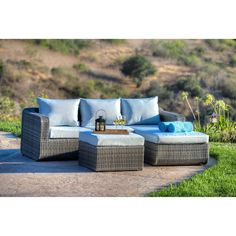 This 3-piece patio set gives you options for entertaining guests or relaxing on a lazy afternoon. Put your feet up for a good read with the ottoman or lay down for a short nap on the chaise lounge section.