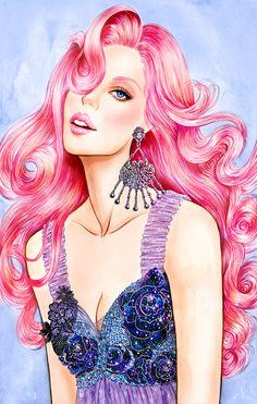 Pink, inspired by Rodarte SS 2016, illustration by Sunny Gu