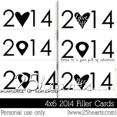 2014 Filler Card Freebie for Project Life 4×6