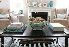 Beige and Aqua Blue house - Sherwin Williams Accessible Beige is used on the walls throughout the house
