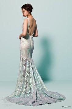 daalarna bridal 2015 pearl long sleeve v neck crochet lace colored wedding dress mermaid silhouette back view