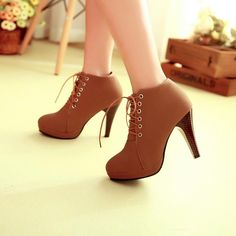 d2e163169ee0d5 Brown Lace up High Heels Ankle Boots from Eoooh❣❣